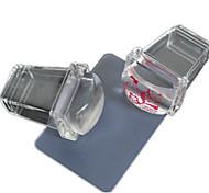 Недорогие -1шт новый прозрачный квадратный силикон ногтей Стампер скребком ногтей лак печати инструменты nd235