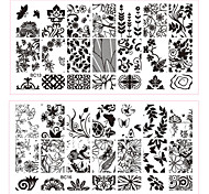 cheap -New 1pcs Lace Flowers Butterfly Designs Nail Art Stamping Plates Stainless Steel DIY Polish Printing Nail Template Tools