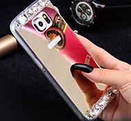 Luxury Diamond Mirror Case For Samsung Galaxy S6 G9200 Handmade Rhinestone Crystal Soft TPU Frame Cover S7/S7E/S6Edge+