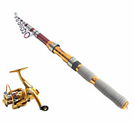 cheap -Telespin Rod Fishing Rod + Reel Fishing Rod Telespin Rod Carbon 290 cm Sea Fishing 9 sections Rod & Reel Combos Medium Light (ML)