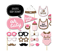 20PCS Pink Girl Baby Shower Card Paper Photo Booth Props Party Fun Favor