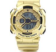 Homens Relógio Esportivo Relógio de Pulso Digital LED Calendário Cronógrafo Impermeável alarme PU Banda Prata Dourada Ouro Rose