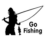 cheap -ZIQIAO Car Tail Window Stickers Auto Car Styling Fashion Girl Go Fishing Sticker Decal Waterproof Car Stickers