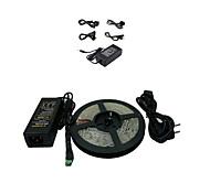 economico -5M 300x5050 SMD LED-ljuslist i varmt vitt ljus och anslutare samt AC110-240V till DC12V6A-transformator