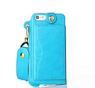 cheap -Case For iPhone 5 Apple iPhone 5 Case Card Holder with Stand Pouch Bag Solid Color Hard PU Leather for iPhone SE/5s iPhone 5