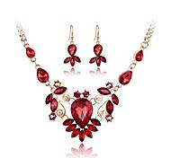 abordables -Mujer Cristal Conjunto de joyas - Cristal, Brillante, Rosa Oro Plateado Incluir Collar / pendientes Rojo / Verde / Azul Para Boda / Fiesta / Diario / Diamante Sintético / Pendientes / Collare