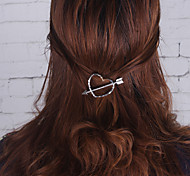 Women Casual Fashion Zircon Lovely Heart Girls Hair Clips Barrettes Alloy Hair Accessories 1pc