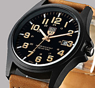 cheap -Men's Quartz Wrist Watch Calendar / date / day Leather Band Casual / Fashion Brown / Green / Khaki
