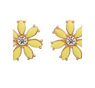 Summer Style Fashion Candy Colored Rhinestones Flower Earrings