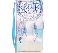 Key Campanula Painting Card Holder Lanyard PU Phone Case for Huawei P9lite