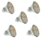 1.5W GU4(MR11) LED Spotlight MR11 12 leds SMD 5730 Decorative Warm White 130-150lm 2800-3200K DC 12V