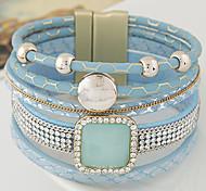 Недорогие -Кожаные браслеты Мода Многослойный европейский Синтетические драгоценные камни Кожа Бижутерия Назначение Новогодние подарки