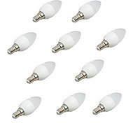 cheap -HRY 10pcs 3W 200 lm E14 LED Candle Lights Rotatable 3 leds High Power LED Decorative Warm White Cold White 220-240V