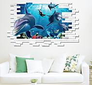 Недорогие -Наклейка на стену Декоративные наклейки на стены - 3D наклейки Пейзаж Животные Натюрморт Геометрия 3D Мультипликация Положение