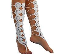 женская мода вязание крючком босиком сандалии выдолбить лодыжки браслет лодыжки цепь
