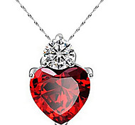 cheap -Women's Heart Zircon Cubic Zirconia Pendant Necklace - Cute Work Casual Love Heart Fashion Heart Necklace For Thank You Daily Casual
