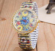Women's European Style Fashion Printing Flower Peacock Rhinestone Stretch Wrist Watches