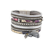 Fashion Women 7 Rows Stone Set Flower Print Fabric Tassel Magnet Leather Bracelet Christmas Gifts