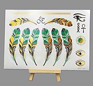 Недорогие -новый горячего тиснения моды безопасные нетоксичные большого размера Гавайские цвета пера водостойкие наклейки татуировки