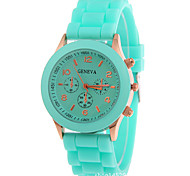 Women's Fashion Watch Quartz Chronograph Silicone Band Sparkle Black White Blue Red Orange Brown Green Pink Purple Yellow Beige Rose