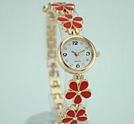 preiswerte -Damen Quartz Armband-Uhr Armbanduhren für den Alltag Legierung Band Blume Elegant Modisch Schwarz Weiß Rot Rosa