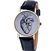 cheap -Women's Quartz Wrist Watch Casual Watch Leather Band Heart shape / Fashion Black / White / Brown / Green / Pink