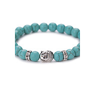 cheap -New Arrival Nature Turquoise Buddha Head Bead Bracelet #YMGS1013