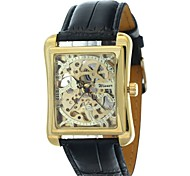 WINNER® Men's Watch Auto-Mechanical Square Gold Dial Hollow Engraving Cool Watch Unique Watch Fashion Watch