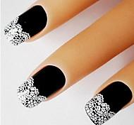 новый стикер прибытия французского искусства ногтя с белый цветок кружева украшения ногтей самоклеющиеся