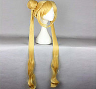 cheap -Synthetic Wig Wavy With Ponytail With Bangs Heat Resistant Blonde Women's Capless Cosplay Wig Very Long Synthetic Hair