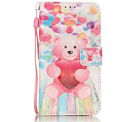 3D Painted Pink Bear Pattern PU Material Phone Case for Galaxy J3/J310/J5/J510/G360/G530