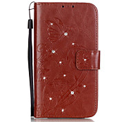 cheap -Case For LG LG K4 LG K10 LG K7 LG G5 LG G4 LG Case Card Holder Wallet Rhinestone with Stand Flip Embossed Full Body Cases Flower Hard PU