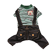 Cat Dog Clothes/Jumpsuit Green Blue Dog Clothes Winter Spring/Fall Stripe Fashion Holiday
