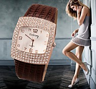 cheap -Women's Quartz Wrist Watch Imitation Diamond Casual Watch Leather Band Charm Simulated Diamond Watch Fashion Black White Silver Red