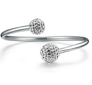 Fine Sterling Silver 925 Crystal Ball Adjustable Cuff Bangle Bracelet Jewerly for Lady