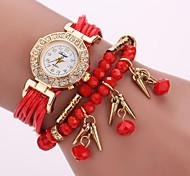 Women's Layered Leather Beads Strand Band White Case Analog Quartz Wrap Bracelet Fashion Watch
