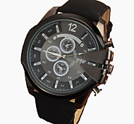 Men's Large Black Case Leather Band Analog Cool Watch Jewelry Gift Wrist Watch Cool Watch Unique Watch Fashion Watch