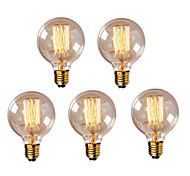 cheap -HRY 5pcs 40W E26 / E27 G95 Warm White 2300k Retro Dimmable Decorative Incandescent Vintage Edison Light Bulb 220-240V
