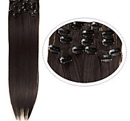 "Cheap Hair Clip In Synthetic Hair Extensions 22"" 7pcs/set #4 Dark Brown Color 100g Heat Resistance Straight Hair"