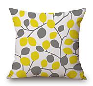 cheap -1Pcs Yellow Grey Plants Leaf Pattern Cotton Pillow Cover