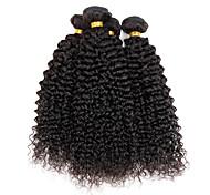 Cabello humano Cabello Hindú Tejidos Humanos Cabello Rizado rizado Ondulado Extensiones de cabello 4 Piezas Color natural
