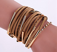 New Fashion Native Style Boheme Tassel Weave Leather Alloy Buckle Bracelet Bangle