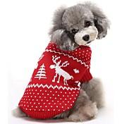 Кошка Собака Свитера Одежда для собак Хлопок Зима Сохраняет тепло Рождество Северный олень Красный Синий Для домашних животных