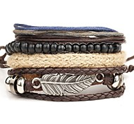cheap -Men's Layered Wrap Bracelet / Leather Bracelet - Leather Wings Personalized, Punk, Multi Layer Bracelet Brown For Christmas Gifts / Daily / Casual