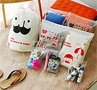 Travel Bag Collection Bag Suit Lovely Beard Pvc Waterproof Classification Finishing Bag (8 Pcs)