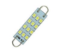 """10 PIECES White Festoon 44mm 12-SMD Rigid Loop 1.73"""" LED Light Bulbs 561 562 567"""