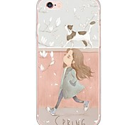 Girl and Cat Pattern Soft Ultra-thin TPU Back Cover For iPhone 6s Plus/6 Plus/6s/6/5s/5
