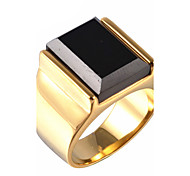 cheap -Men's Statement Rings Synthetic Sapphire Black Gemstone Vintage Party Synthetic Gemstones Titanium Steel Jewelry Christmas Gifts Party