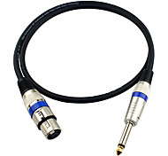 cheap -JSJ® 3-Pin XLR Female to 6.35mm Single Channel Male Microphone Audio Cable (OD6.0mm 1m/3FT)