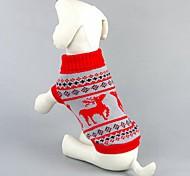 Кошка Собака Свитера Одежда для собак Хлопок Весна/осень Зима Классика Рождество Северный олень Черный Красный Для домашних животных